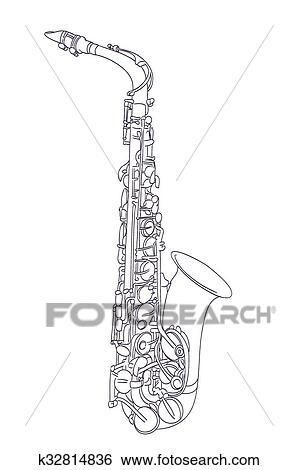 Dessin Saxophone saxophone alto, dessin, sur, white., vecteur clipart k32814836