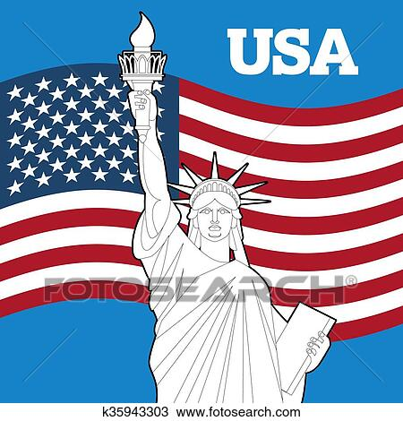 Clipart Of Statue Of Liberty And American Flag Symbol Of Freedom