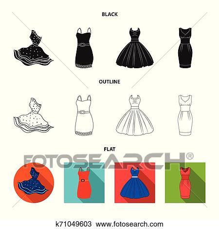 Vetorial Desenho De Vestido E Roupas Logo Jogo De