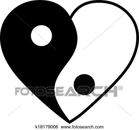 Yin yang heart Clip Art   k18179006   Fotosearch