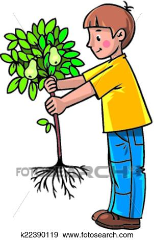 clip art of boy the gardener with a tree k22390119 search clipart rh fotosearch com gardening clipart gardener clipart free