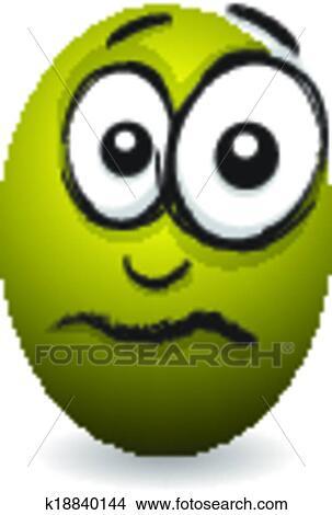 Cartoon Yellow Upset Egg Face Clipart K18840144 Fotosearch