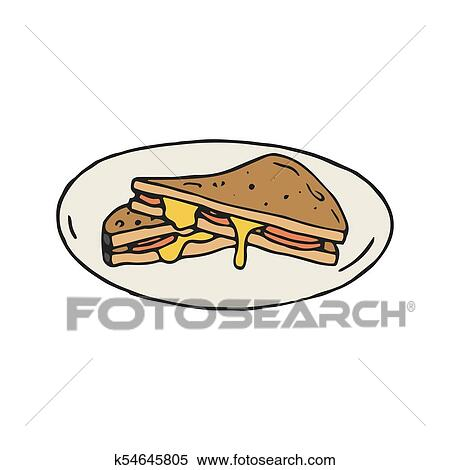 Cheese and ham sandwich vector illustration in Clipart ...