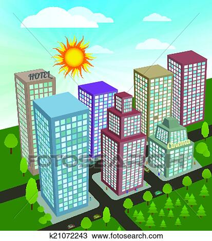 Clipart Of City In Perspective K21072243 Search Clip Art