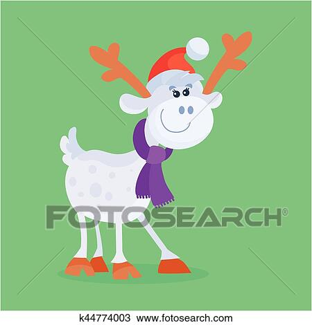 71ede58ab6626 Funny cartoon reindeer icon. Cute deer character in Santa hat and scarf  isolated flat vector illustration. Celebrating Merry Christmas