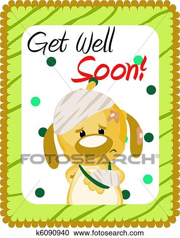 Stock illustrations of get well soon greeting k6090940 search get well soon greeting with injured dog m4hsunfo