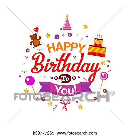 Awesome Happy Birthday Kids Typography Card Clipart K39777265 Fotosearch Personalised Birthday Cards Paralily Jamesorg