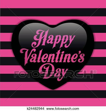 Lucido Emo Heart Rosa E Nero St Clipart K24482944 Fotosearch