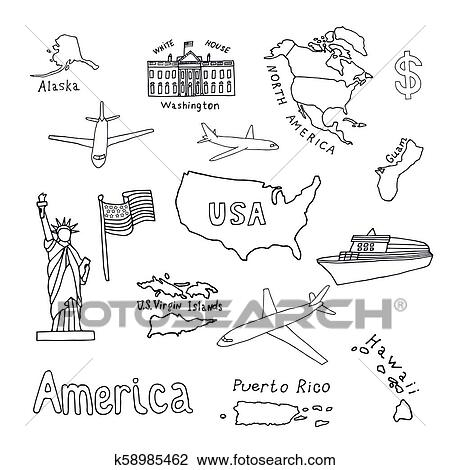 Map of the United States of America and its territories ...