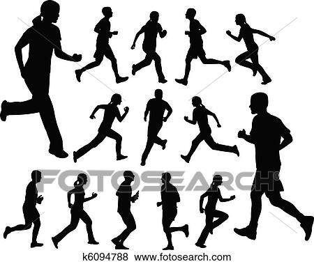 Clip Art Of People Running K6094788
