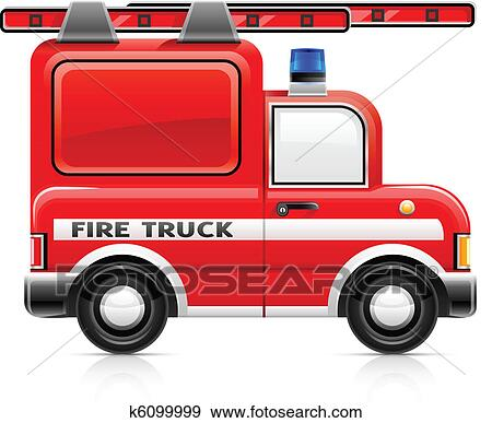 clip art of red fire truck k6099999 search clipart illustration