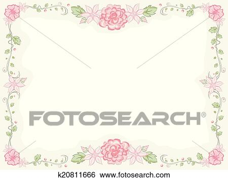 Clip Art of Shabby Chic Floral Frame k20811666 - Search Clipart ...