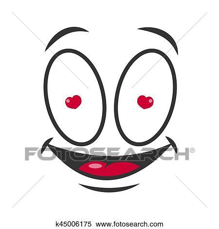 Sourire Dessin Animé Emoticon Amoureux Emoji Figure Vecteur Icône Clipart