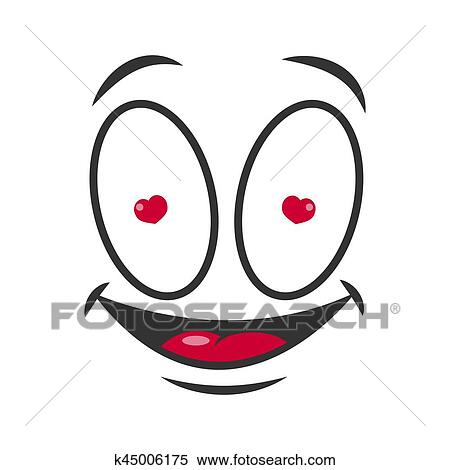 Sourire Dessin Anime Emoticon Amoureux Emoji Figure Vecteur Icone Clipart K45006175 Fotosearch