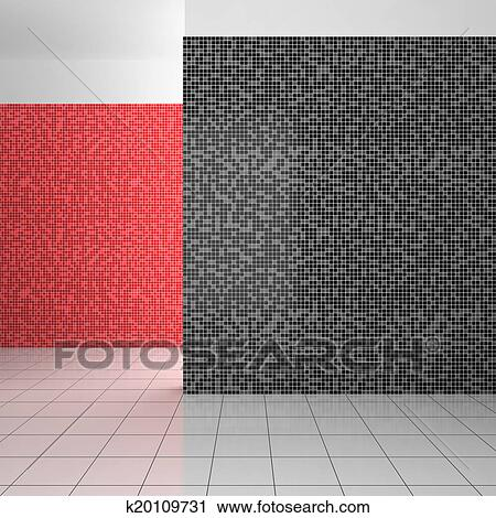 Vuoto Moderno Bagno Con Nero Bianco E Rosso Tegole Clip
