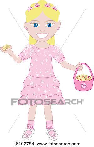 ピンクのドレス フラワーガール 2 クリップアート切り張り