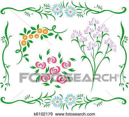 装飾用である 花 デザイン イラスト K6102179 Fotosearch