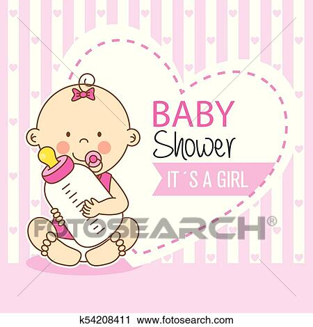 Baby Shower Girl Clipart K54208411 Fotosearch