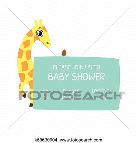 Baby Shower Invitation Template Card With Cute Giraffe And Place