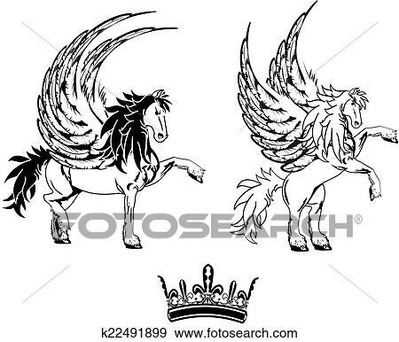 Cheval ailes p gase tatouage ensemble clipart k22491899 fotosearch - Clipart cheval ...