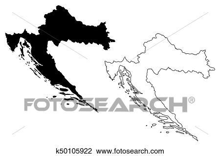Clipart of Croatia map vector k50105922 - Search Clip Art ...