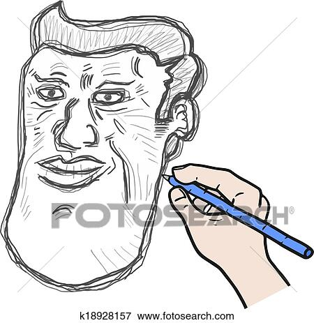 Desenhar Rosto Homem Clipart K18928157 Fotosearch