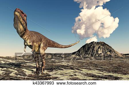 Dinosaure Mapusaurus Et Volcan Dessin