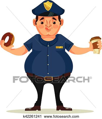 Clipart Of Fat Police Officer Character Eating Donuts And Drink