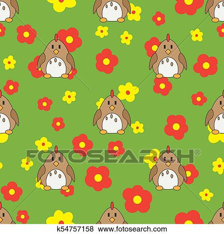 Flat Line Color Vector Seamless Pattern Cute Animal For Baby