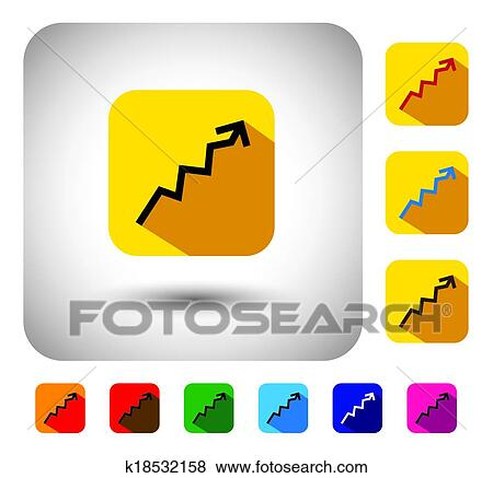 clip art of graph or report sign on button flat design vector icon