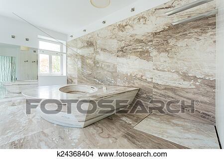 Luxus, badezimmer, mit, marmor, fliesenmuster Bild