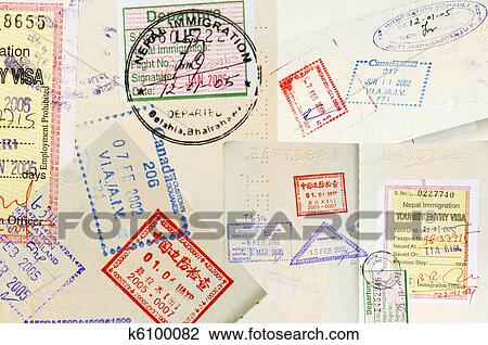 stock photo of passport stamps background k6100082 search stock