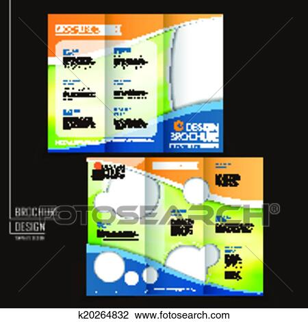 clipart of vector tri fold business brochure layout design template