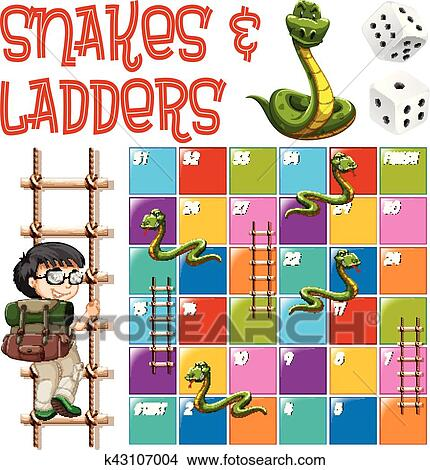 clipart of boardgame template with ladders and snakes k43107004
