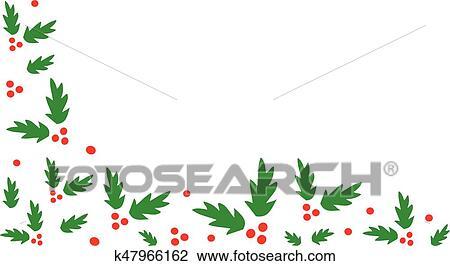 Christmas Holly Border Clipart.Christmas Holly Corner Border Clipart