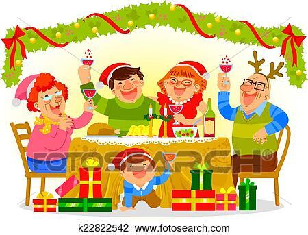 Weihnachten Bilder Clipart.Familie Feiern Von Weihnachten Clipart