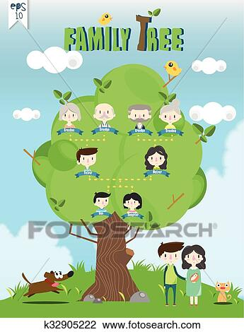 Family tree template info graphics Clipart