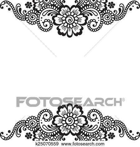 Clip art of flower vector ornament corner k25070559 search clipart white flower corner lace ornament mightylinksfo
