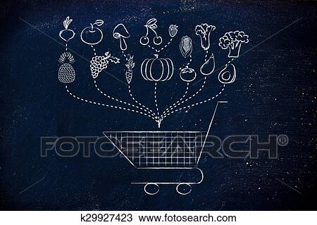 drawing healthy food grocery list fotosearch search clipart illustration fine art