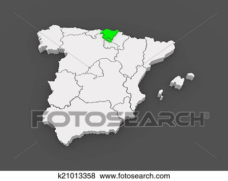 Basque Map Of Spain.Map Of Basque Country Spain Stock Illustration