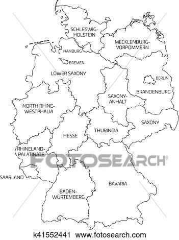 Simple Map Of Germany.Map Of Germany Divided To Federal States Clipart