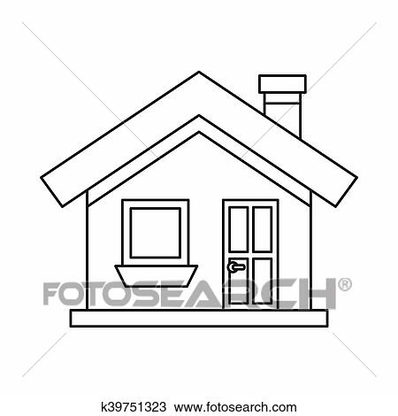 Dessin  Petite Maison  A Chemine Icne Contour Style