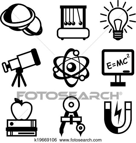 Physics Science Equipment Teaching And Studying Black White Education Icons Set Isolated Vector Illustration