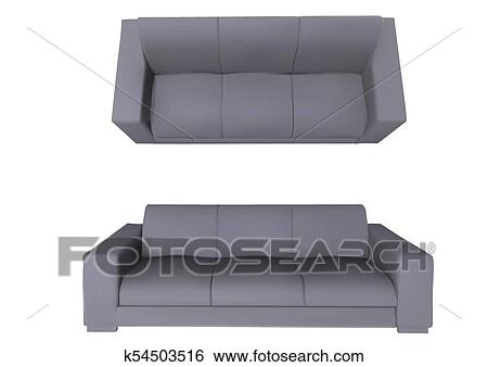 Sofa Front And Top View Clip Art K54503516 Fotosearch
