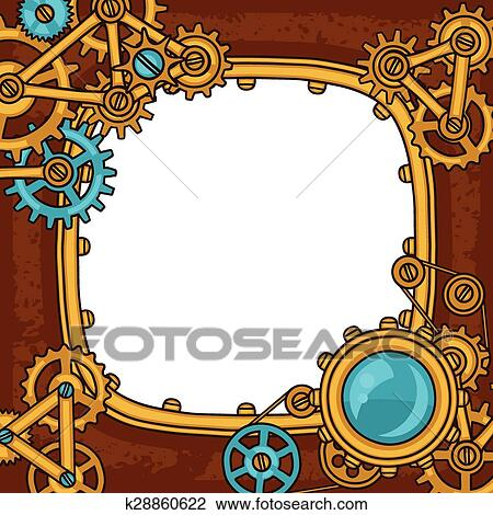 Clipart of Steampunk frame collage of metal gears in doodle style ...