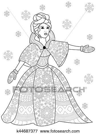 Clip Art - winterbilder, frau, färbung, vektor, für, erwachsene ...