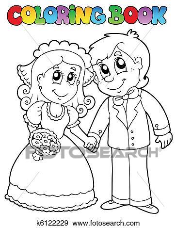 Clip Art Ausmalbilder Mit Hochzeitspaar K6122229 Suche Clipart