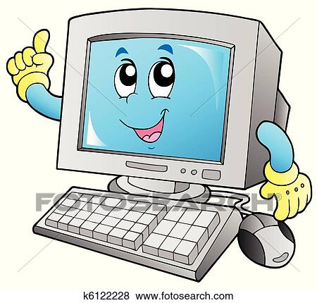 Cartoon smiling desktop computer Clip Art | k6122228 ...