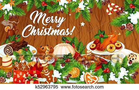 Christmas Dinner Clipart.Christmas Dinner Banner With Winter Holiday Dishes Clipart