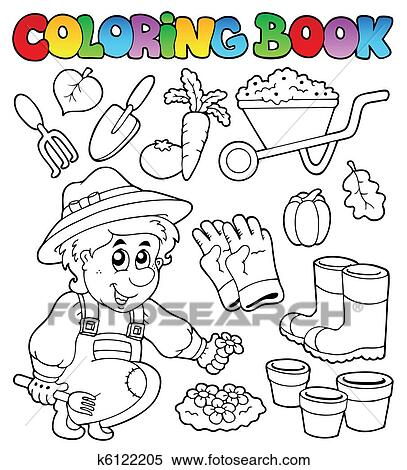 Clipart Of Coloring Book With Garden Theme K6122205